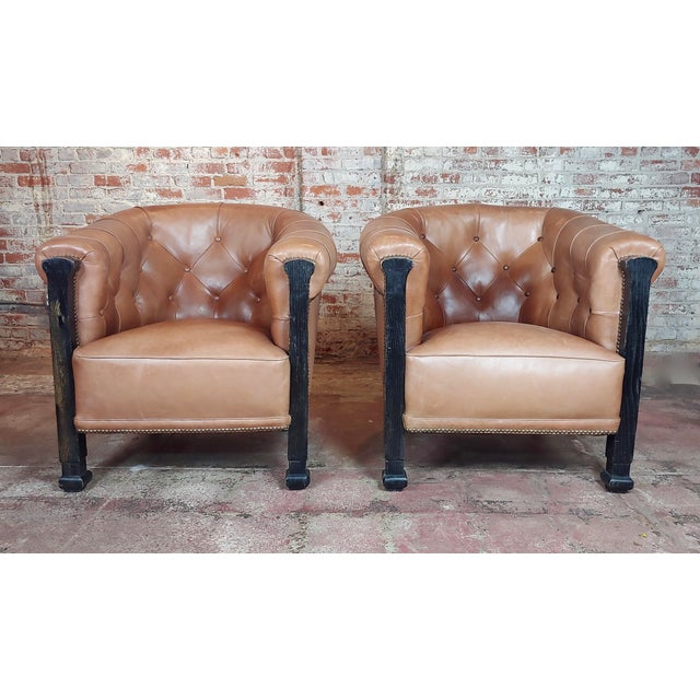 Americana Fabulous Vintage Club Chairs W/Tufted Brown Leather-A Pair For Sale - Image 3 of 11