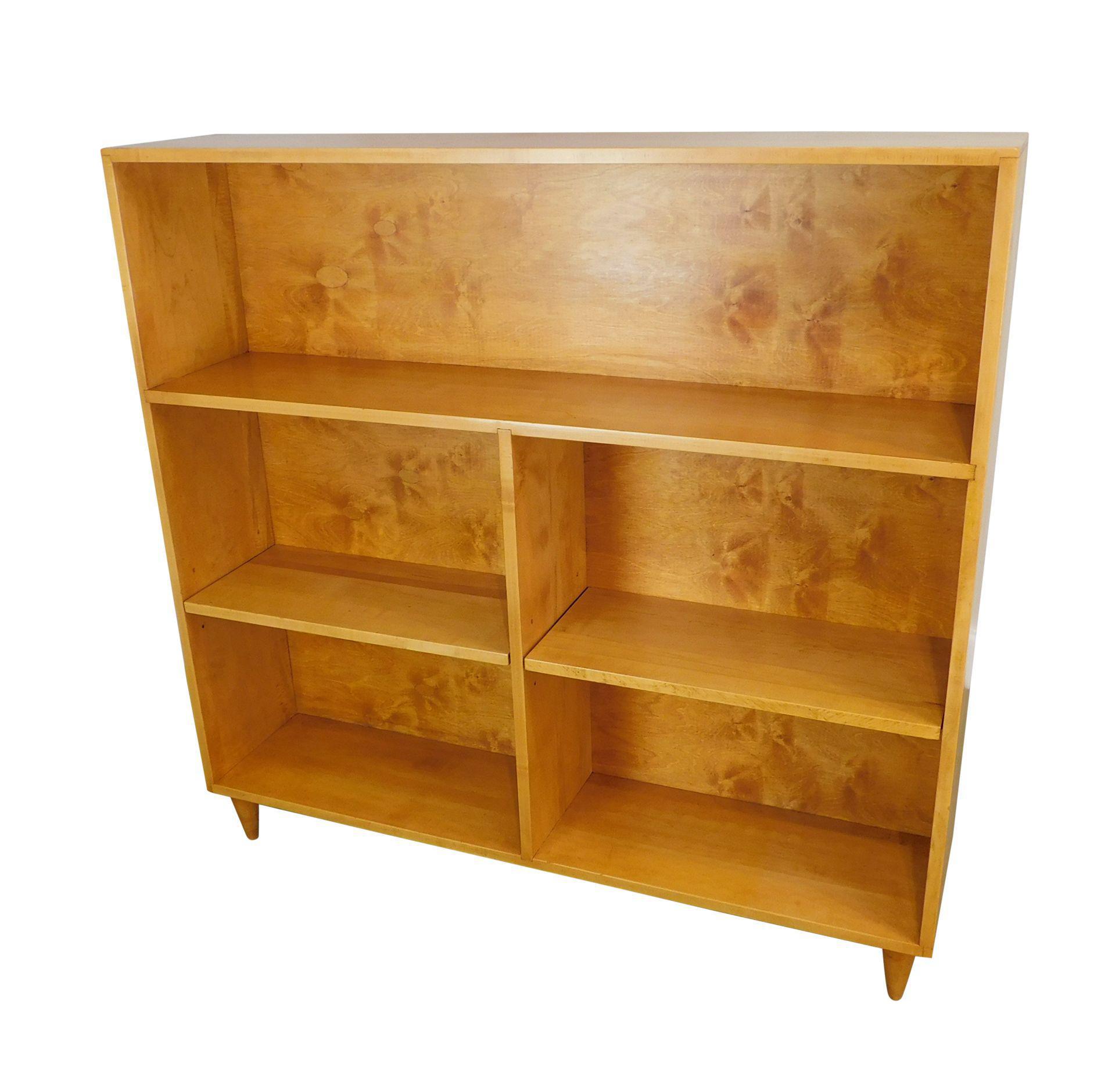 Paul Mccobb Style Mid Century Maple Open Bookcase