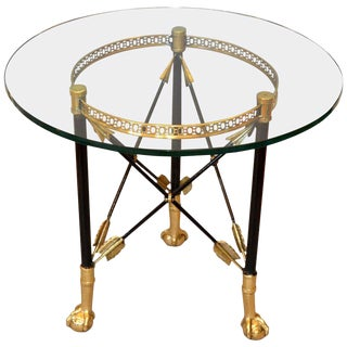 Round Bronze Glass Coffee Table Ball and Claw Feet For Sale