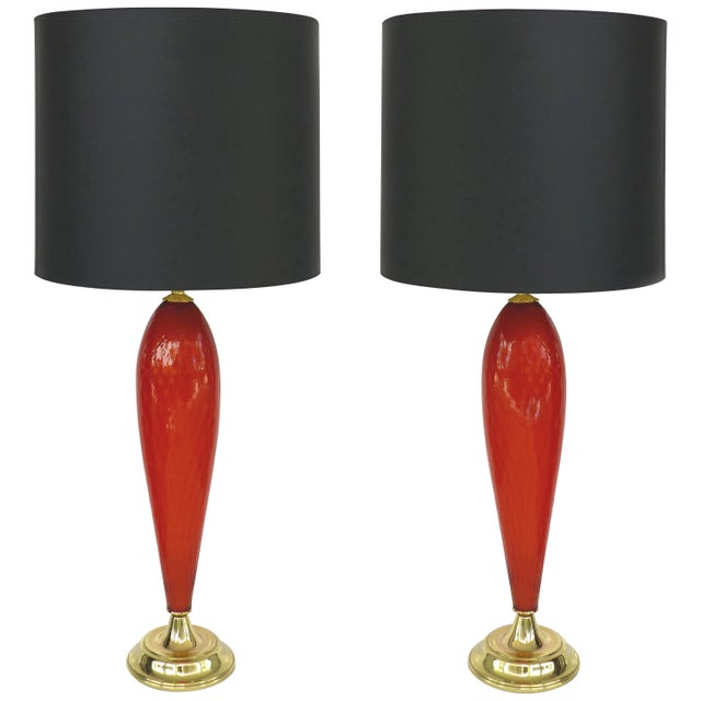 Murano Glass Mid-Century Modern Handblown Lamps With Brass Bases and Shades For Sale - Image 11 of 11