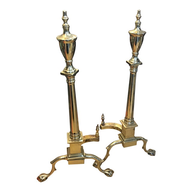 Urn Top Andirons - A Pair For Sale