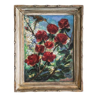 Vintage Oil on Canvas Painting of Red Flowers and Bird Signed by Artist Betty Moses With Wood Frame For Sale