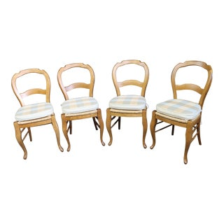 Pottery Barn Country French Maple Rush Seat Dining Chairs - Set of 4 For Sale