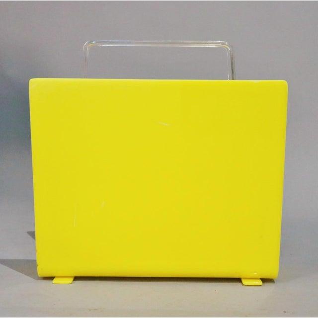 Mid-Century Modern 1970s Mid-Century Yellow Lucite Magazine Rack For Sale - Image 3 of 5