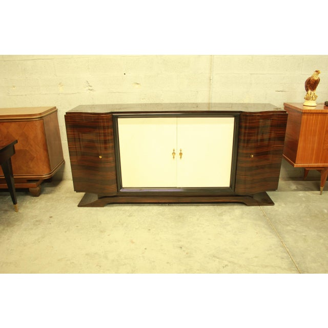 Classic French Art Deco Macassar Sideboard or Bar With Parchment Center Door By Maurice Rinck , Circa 1940s. - Image 11 of 11