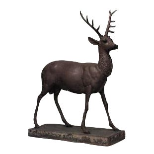 Outdoor American Country style (19/20th Cent) painted iron life size figure of deer For Sale