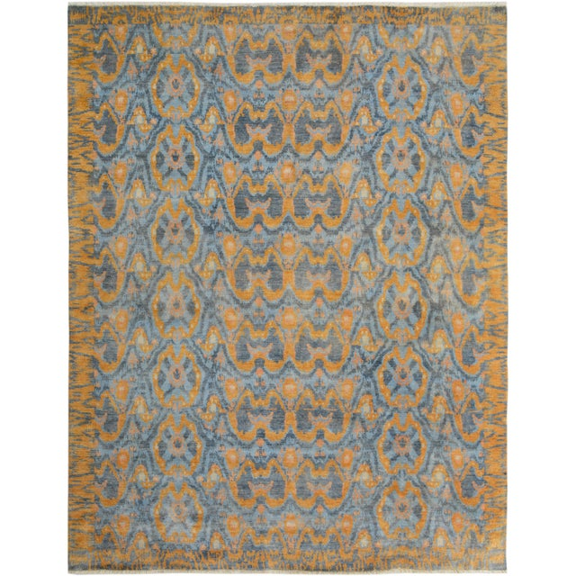 "Blue Kafkaz Peshawar Rolando Light Blue/Gray Wool Rug - 7'6"" X 9'5"" For Sale - Image 8 of 8"