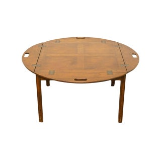 1960's Traditional Banded Mahogany Butler's Coffee Table For Sale