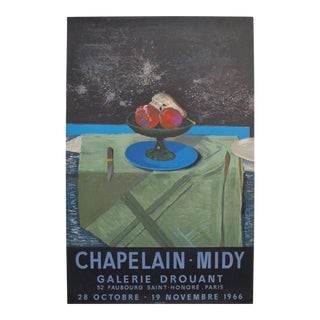 1966 Original French Exhibition Poster - Galerie Drouant, Chapelain-Midy For Sale