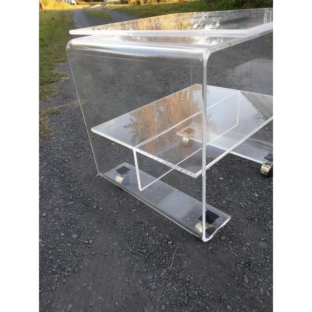 1970s 1970's Vintage Lucite Bar Cart For Sale - Image 5 of 11
