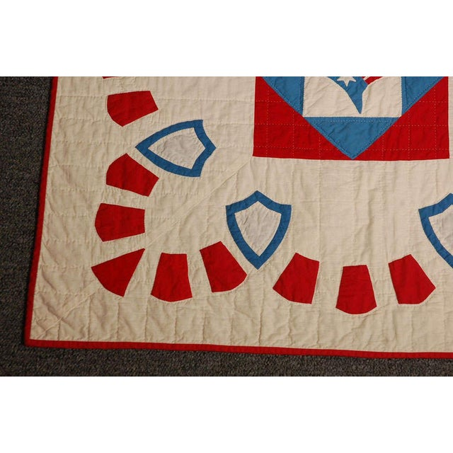 Rare Patriotic Presidential Applique Quilt from 1925 For Sale - Image 5 of 9