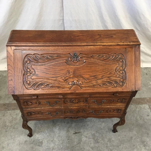 French Antique Carved Drop Front Secretary's Desk For Sale - Image 10 of 10 - French Antique Carved Drop Front Secretary's Desk Chairish