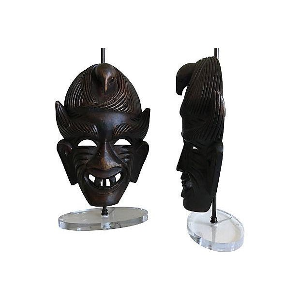 1950s African Tribal Mask Lamps - A Pair For Sale - Image 5 of 7