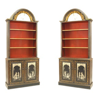 Pair of Adam Style Black and Gold Lacquered Bookcases For Sale