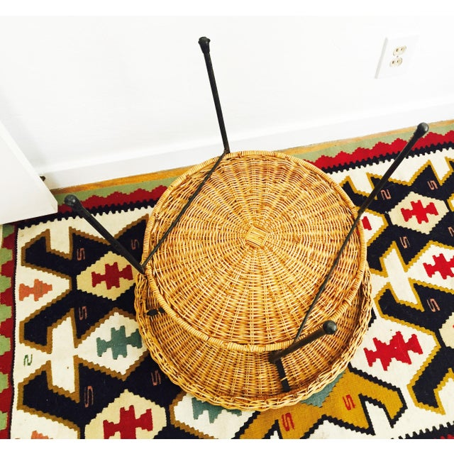 Mid Century Round Wicker Side Table on Metal Base - Image 9 of 10