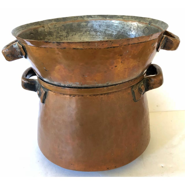 Metal Hand Wrought French Copper Pot and Colander For Sale - Image 7 of 7