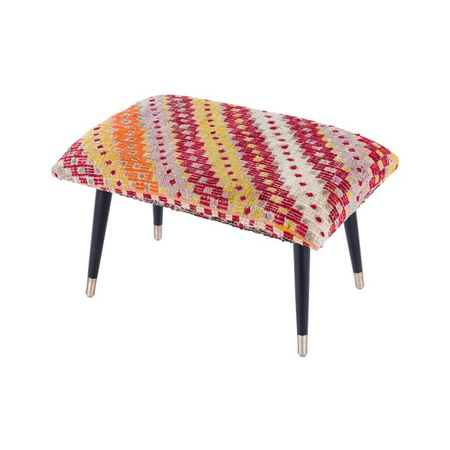 Turkish Pasargad Home Bosphorus Collection Vintage Kilim Cover Ottoman For Sale - Image 3 of 3