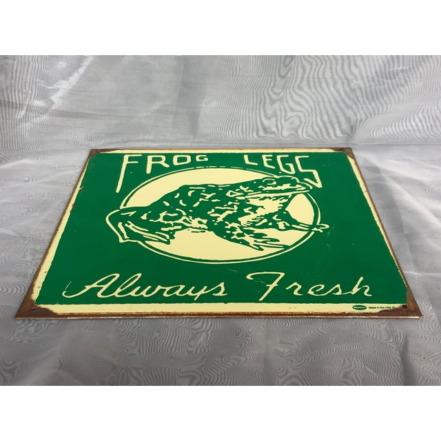 Green 1990s Marty Mummert Distressed Metal Wall Sign For Sale - Image 8 of 13