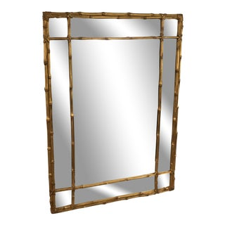 Vintage Carver's Guild Faux Bamboo Wall Mirror For Sale