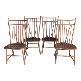 1970s Americana S. Best Bros. Birdcage Windsor Chairs - Set of 4 For Sale