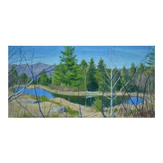 """Canoe With Pond and Mountains"" Contemporary Painting by Stephen Remick For Sale"
