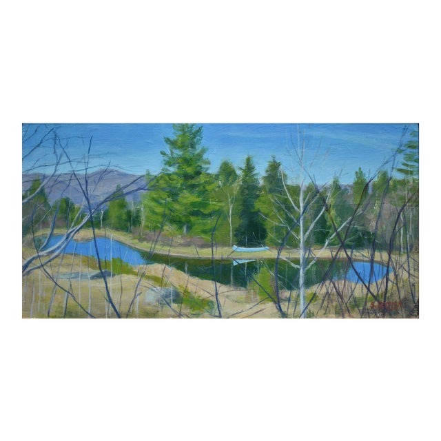 """""""Canoe With Pond and Mountains"""" Contemporary Painting by Stephen Remick For Sale"""
