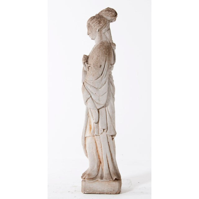 Asian Mid Century Vintage Cast Stone Figure of a Goddess For Sale - Image 3 of 8