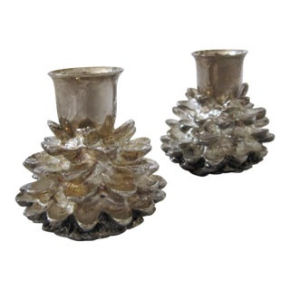 Silver-Plate Pine Cone Candle Holders- 2 Pieces For Sale