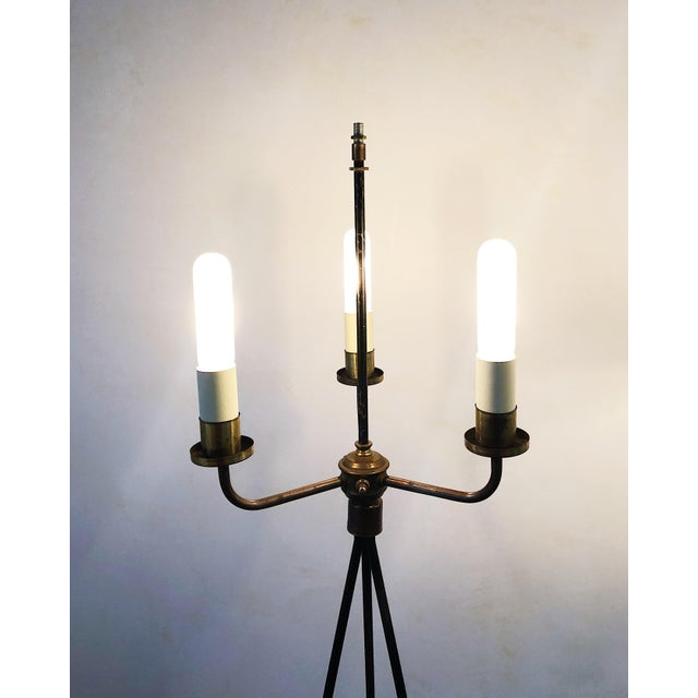French Pair of Early Gerald Thurston Iron Floor Lamps For Sale - Image 3 of 9