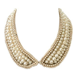Mid-Century Japanese Faux Pearl & Crystal Rhinestone Choker Collar Necklace For Sale