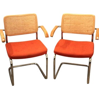 Vintage Orange Marcel Breuer Cesca Chairs - A Pair