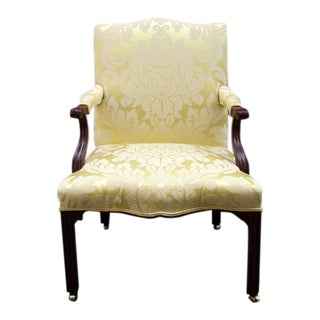 18th Century English Chippendale Mahogany Upholstered Open Armchair