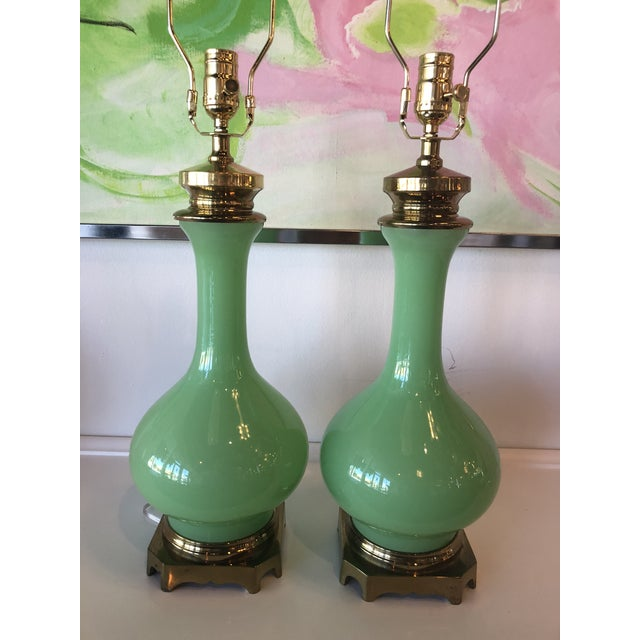 Brass Vintage Paul Hanson Green Jadeite Glass, Brass Table Lamps - A Pair For Sale - Image 7 of 10
