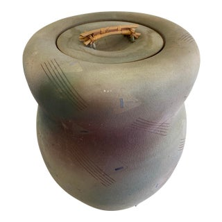 Vintage Postmodern 1980s Oversized Raku Lidded Pot For Sale