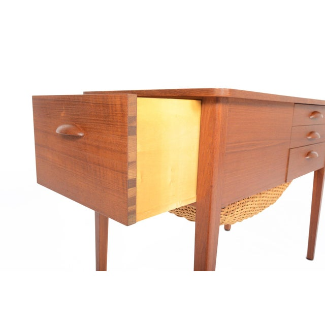 Danish Modern Teak Sewing Box With Basket For Sale In San Francisco - Image 6 of 10