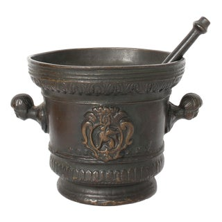 Vintage Italian Bronze Mortar and Pestle For Sale