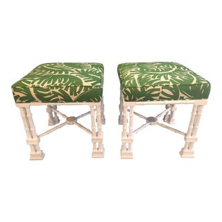 Vintage Faux Bamboo White Lacquered Palm Frond Stools Benches Ottomans -A Pair For Sale