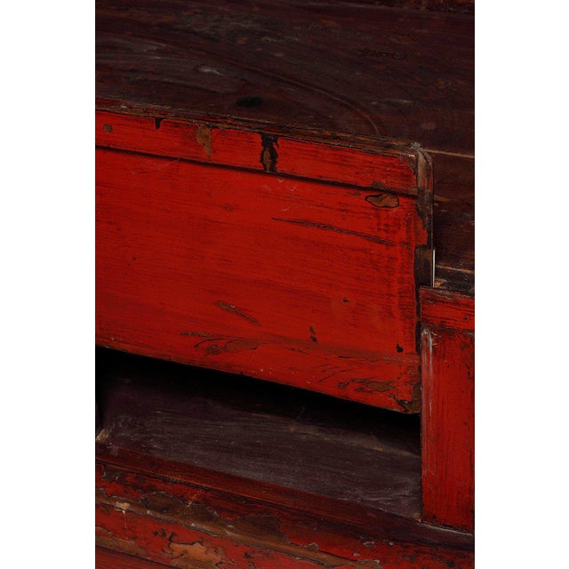 Asian 19th Century Chinese Large Red Lacquered Armoire with Iron Hardware For Sale - Image 3 of 7