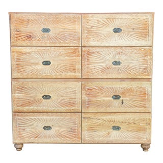 Campaign Sunburst Bleached Teak Dresser For Sale