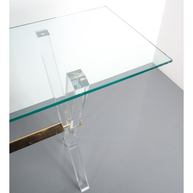 Lucite and Brass X Frame Console Table, Circa 1970 For Sale - Image 9 of 13