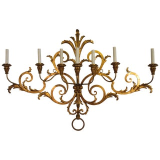 1950s Large Gilt Iron Italian Sconce For Sale