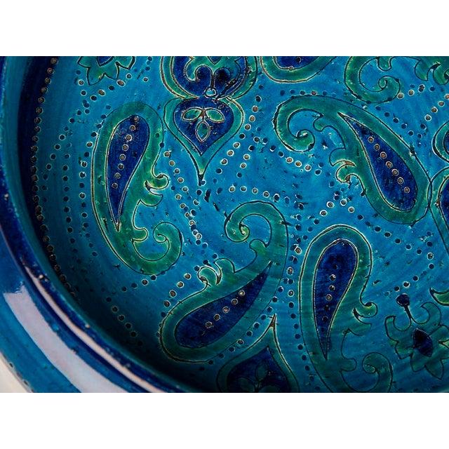 Ceramic Large Italian Bitossi Turquoise Glazed Patterned Bowl circa 1965 For Sale - Image 7 of 10