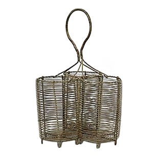 1920s French 3-Bottle Wine Carrier For Sale