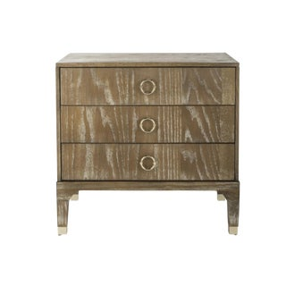 Transitional Oak 3 Drawer Chest For Sale