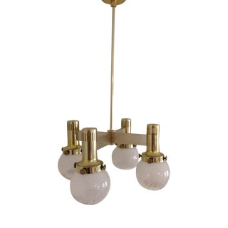 Vintage Lightolier Gold Colored Brass Chandelier Art Glass Globes 70s For Sale