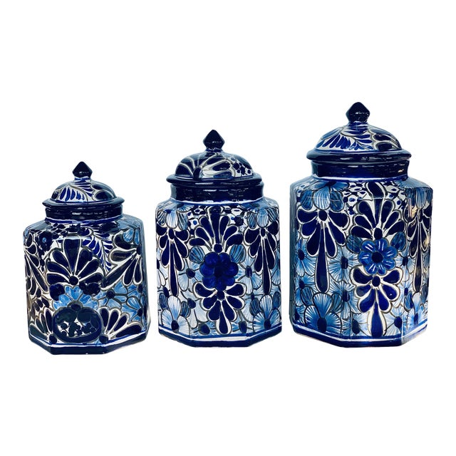 Vintage Mexican Hand Painted 'Amora' Talavera Pottery Canister Set With Lids - Set of 3 For Sale
