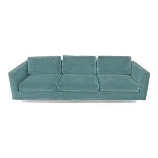 1960s Dunbar Velvet Tuxedo Sofa on Chrome Base, Edward Wormley For Sale