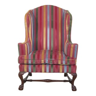 Kittinger Historic Newport Claw Foot Mahogany Wingback Chair For Sale