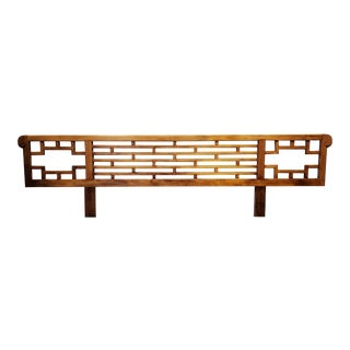 Vintage Chinese Hardwood Fretwork Headboard Queen-King For Sale
