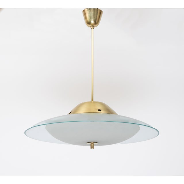 1950s Vintage Max Ingrand for Fontana Arte Crystal and Brass Chandelier For Sale In New York - Image 6 of 6